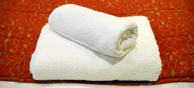 Towels to pack in a moving essential box