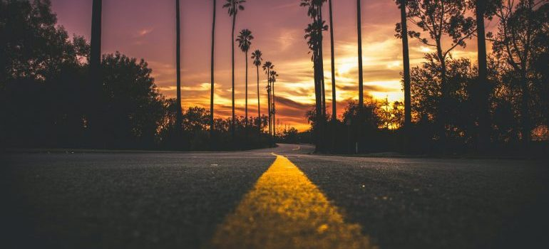 Road in city during sunset is great to watch while long distance move