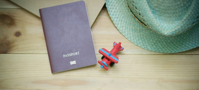 A passport on a table