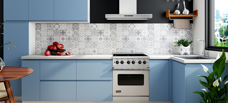Blue kitchen with tiles and patterns